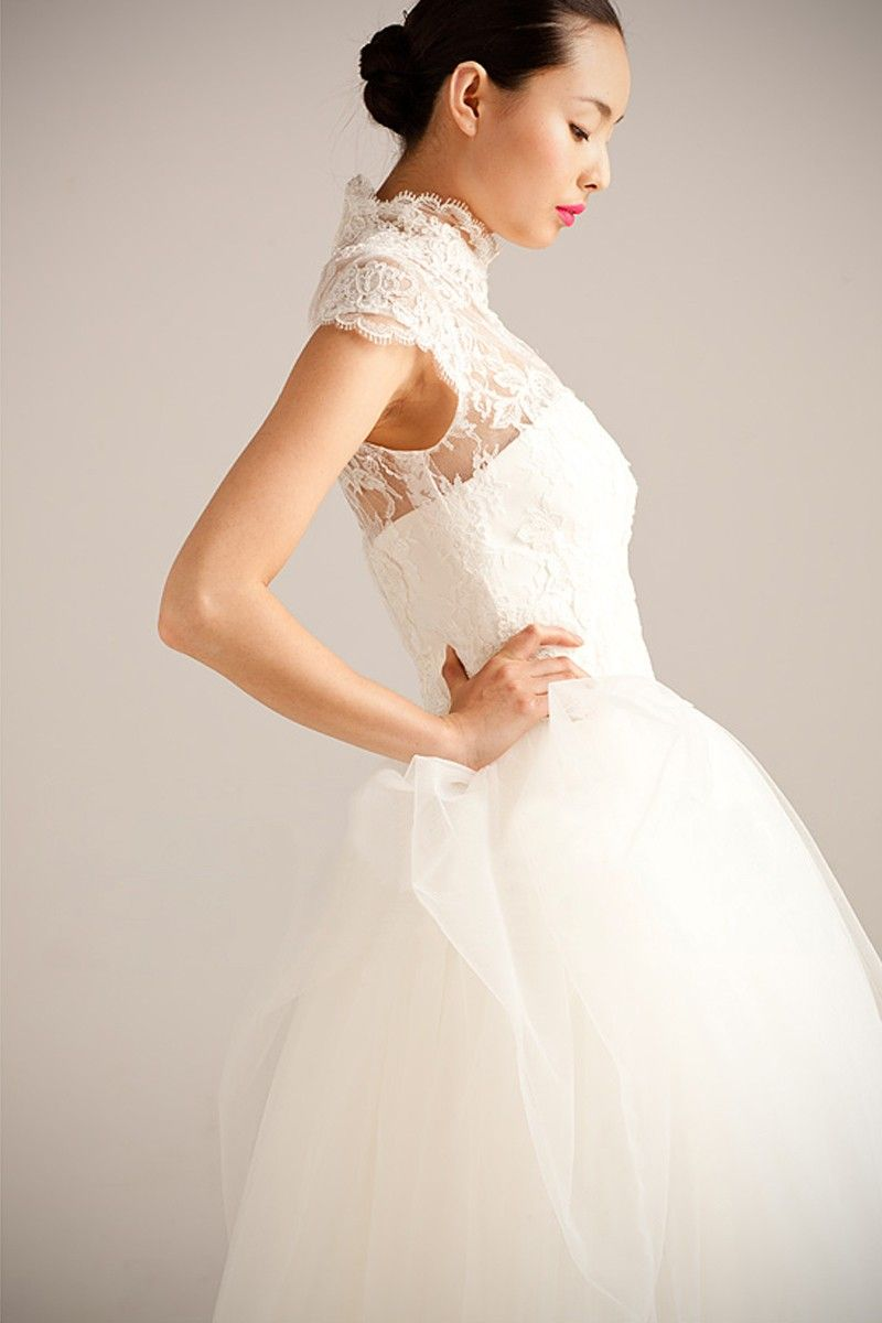 Aline high neck cap sleeve flowers court train wedding dress