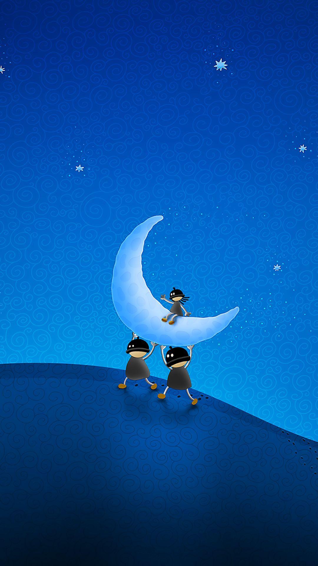 Tap And Get The Free App Art Creative Moon Sky Stars Fun Blue