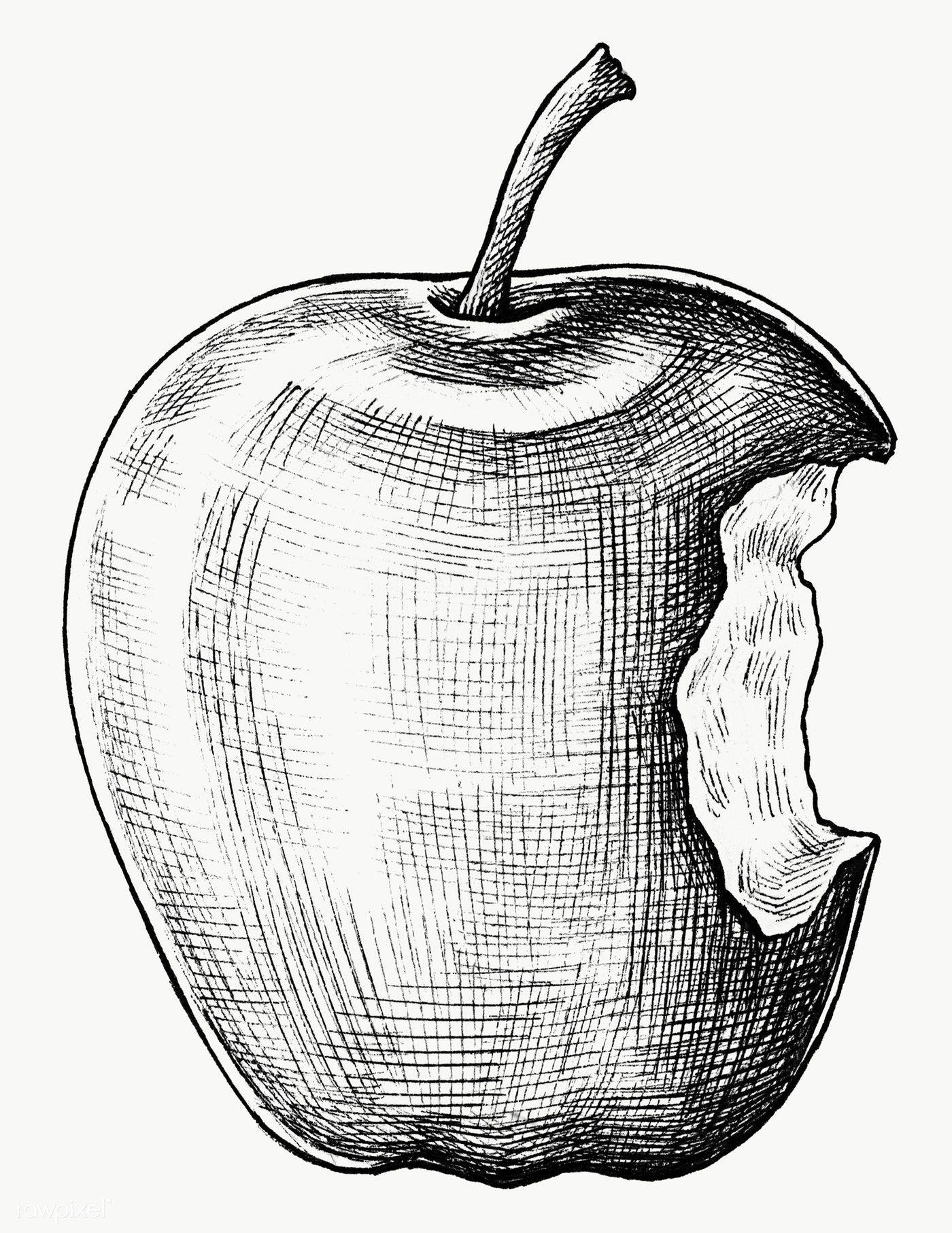 Hand Drawn Bitten Apple Fruit Transparent Png Free Image By Rawpixel Com Drawing Apple How To Draw Hands Apple Illustration