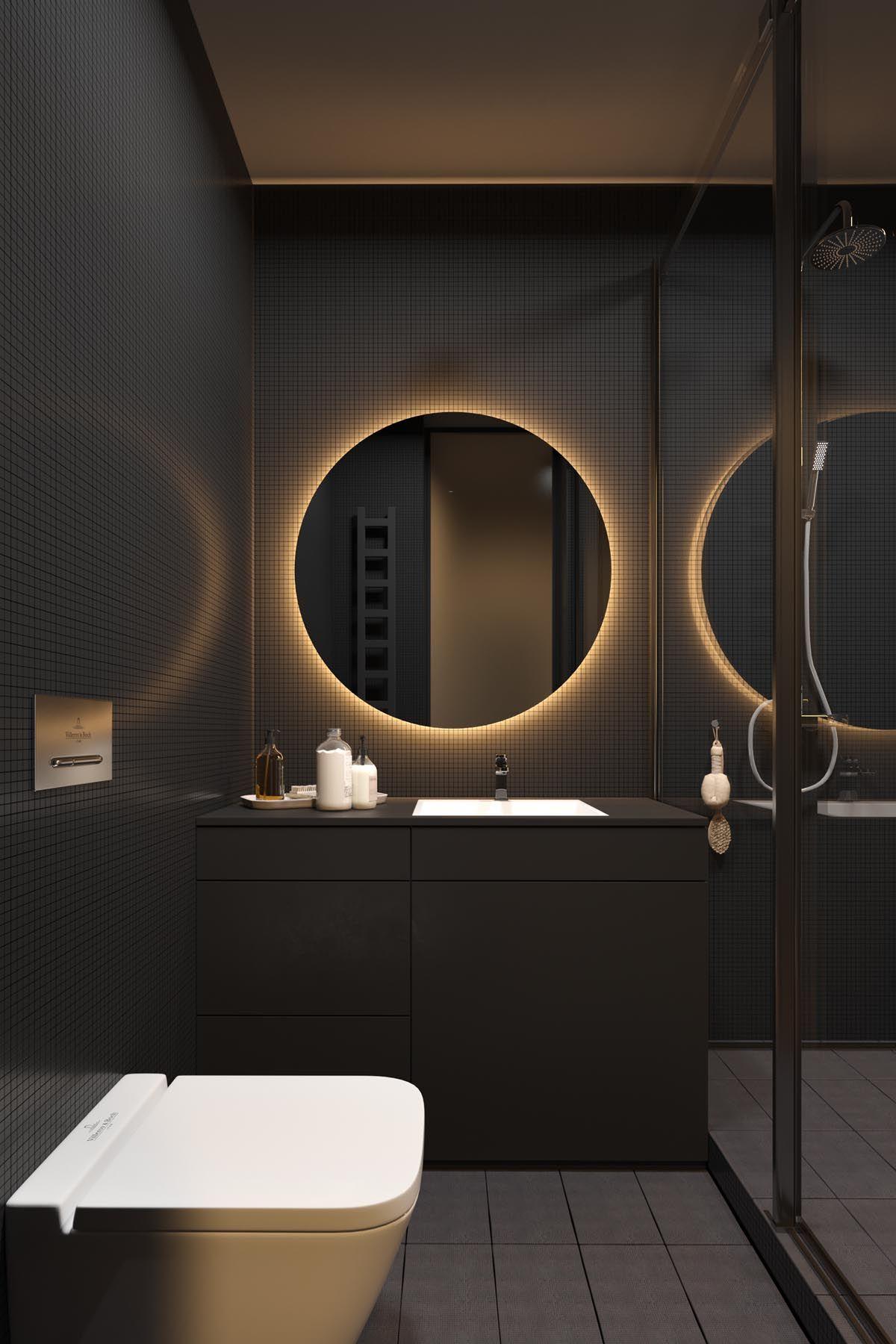 Dark Grey Home Decor With Warm Led Lighting Gray White Bathroom Bathroom Dark Bathrooms
