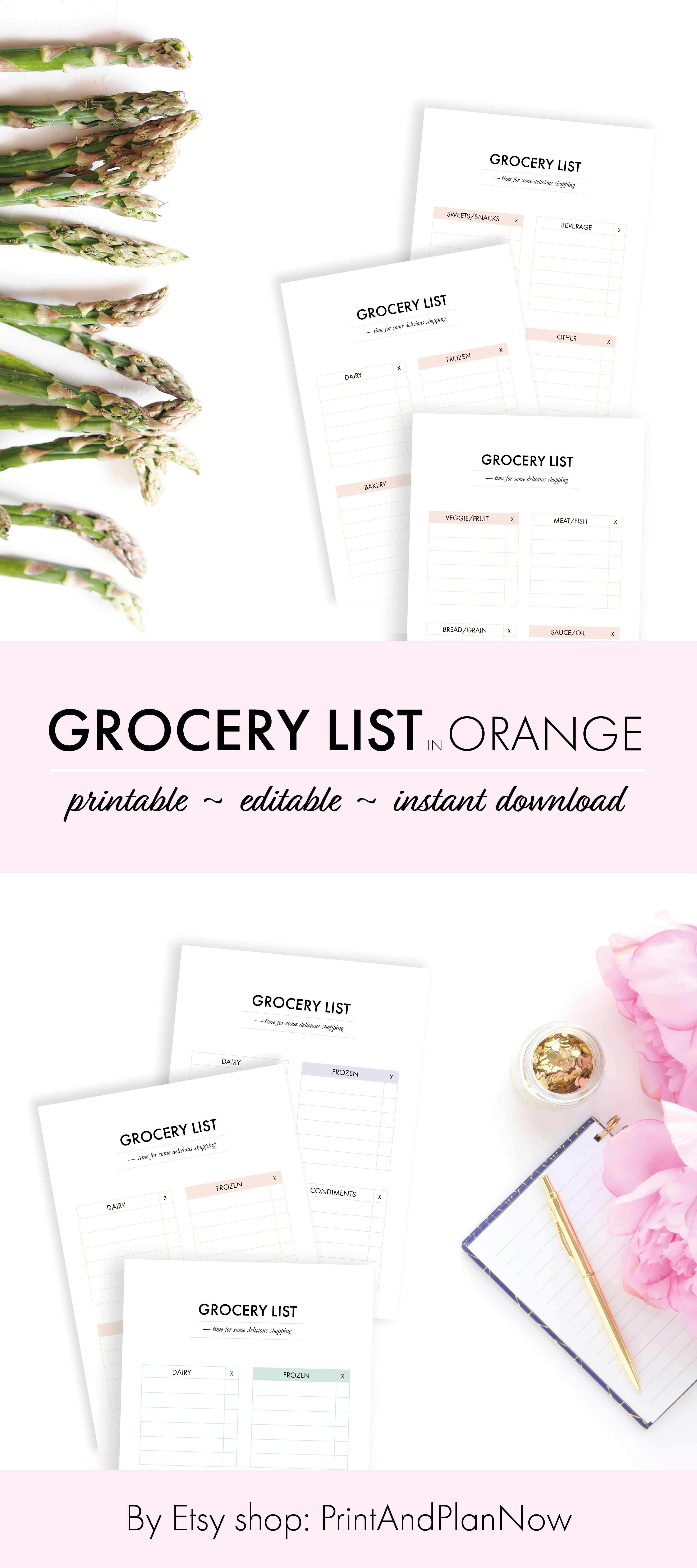 grocery list planner pastel orange editable party grocery list