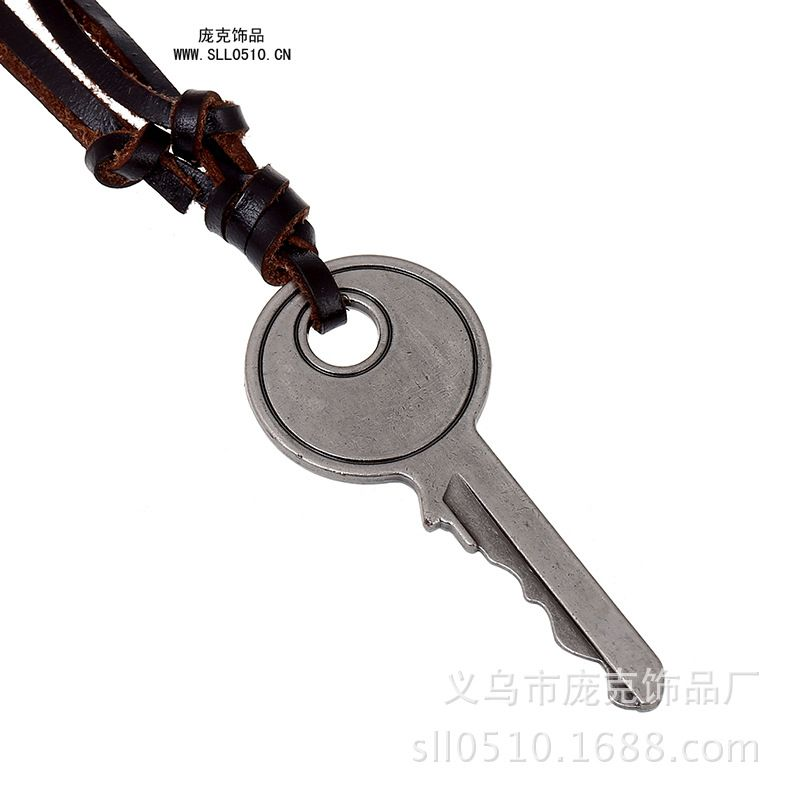 Retro big key leather necklace alloy key pendant leather necklace retro big key leather necklace alloy key pendant leather necklace cool men necklace rock jewelry for aloadofball Image collections