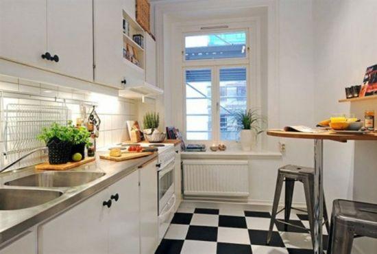 wohnungen dekoration kleine räume Küche in Schwarz und Weiß ...