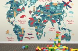 Travel themed baby bedroom decorating for the baby travel hack kids world map wallpaper gumiabroncs Image collections