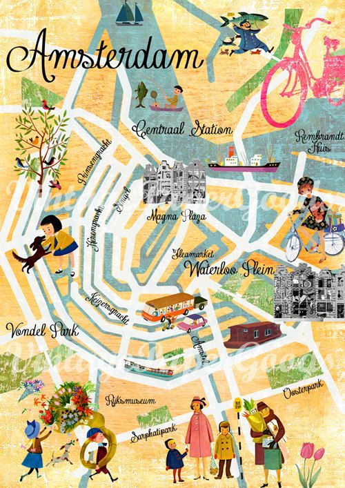 New A3 Size Vintage Amsterdam Map Collage Poster Print Wall Art