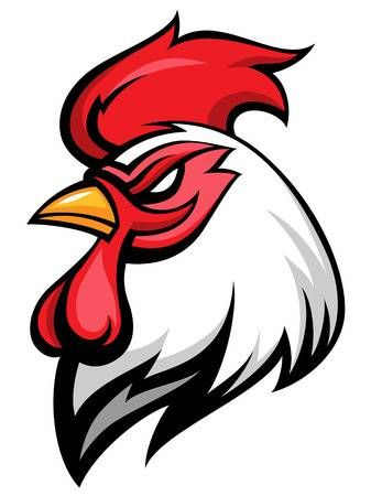Angry rooster mascot, team symbol, isolated on white