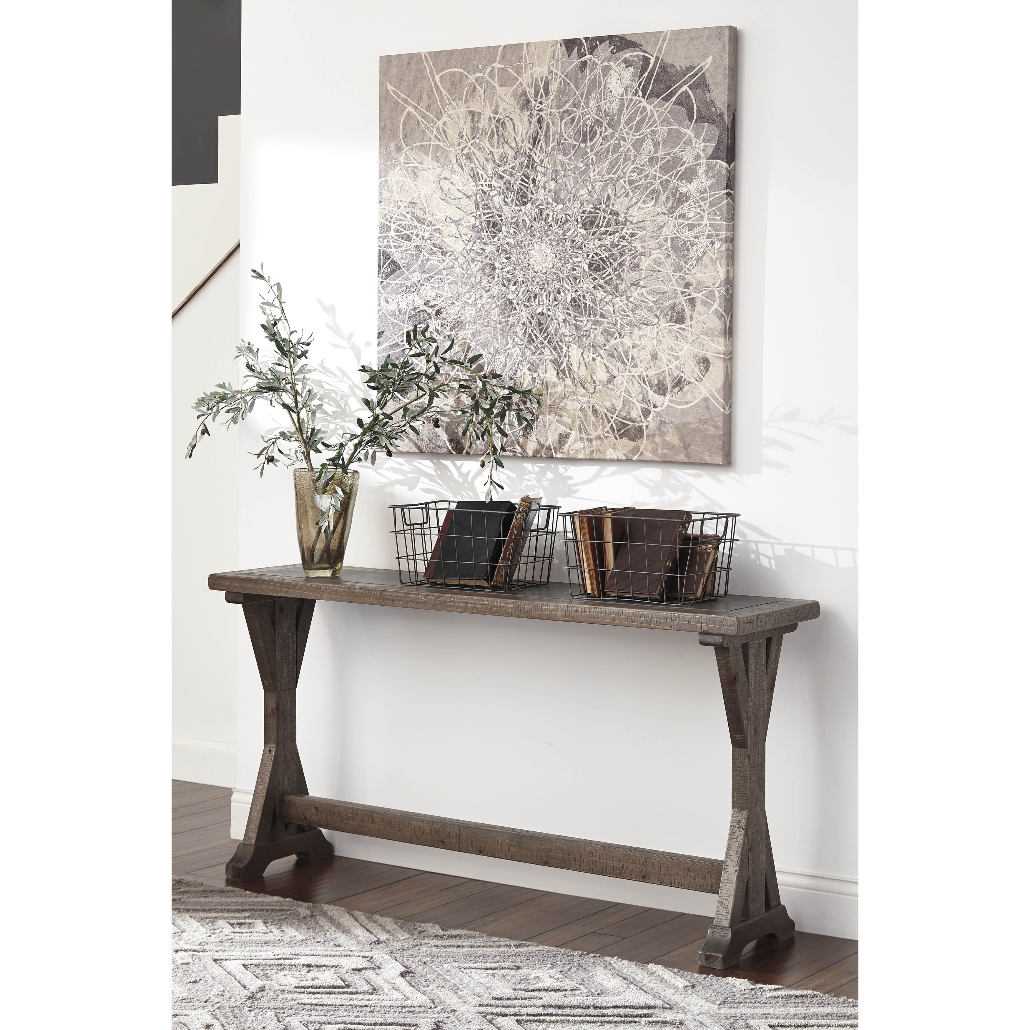 Signature design by ashley valkner grayish brown sofa table by sofa tables geotapseo Images