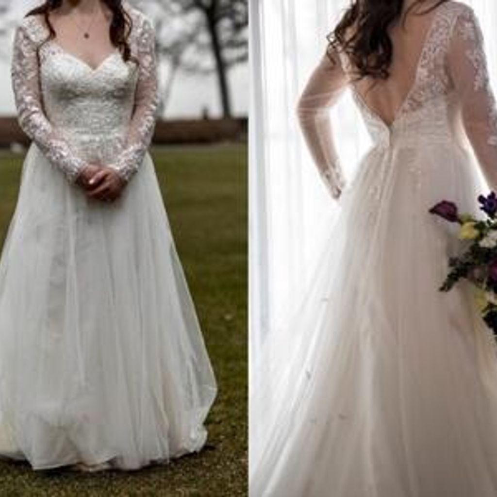 david's bridal long sleeve wedding dress with low back off 20 ...