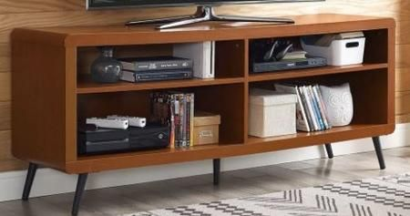 W58rdcac 58 Mid Century Modern Wood Rounded Corner Tv Stand Storage