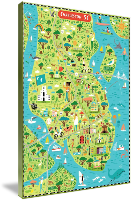 Illustrated Map Of Charleston Sc By Nate Padavick By They Draw Cook Travel Illustrated Map Charleston Sc Map Map Art