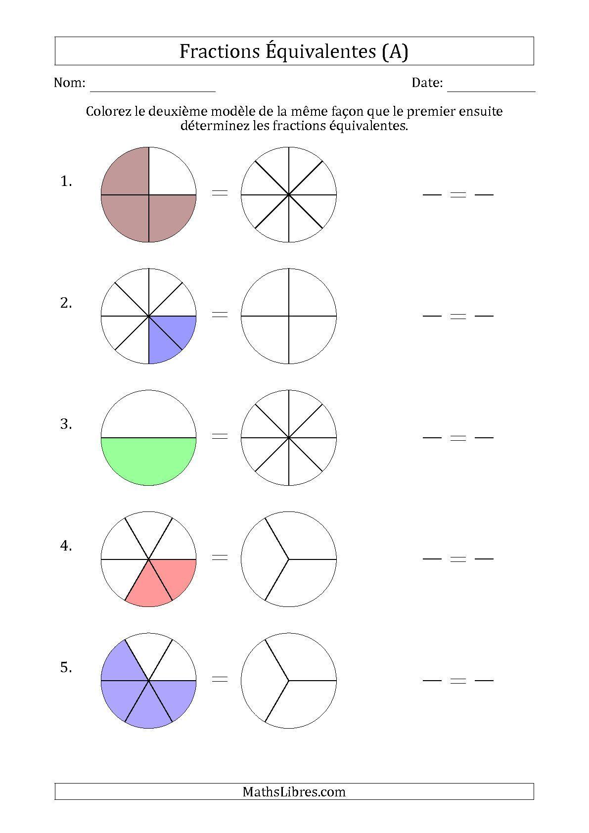 La fiche d 39 exercices de maths fractions quivalentes l aide des mod les a de la page des - Exercice fraction cm1 a imprimer ...