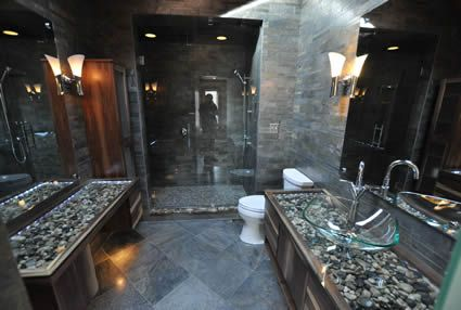 slate showers | ... of a beautiful polished slate shower, walls and floor in bathroom