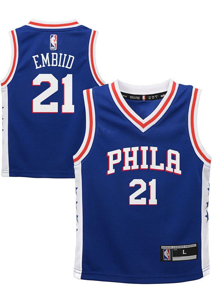 new style 1524e 91d2e Joel Embiid Outer Stuff Philadelphia 76ers Boys Blue 2018 ...