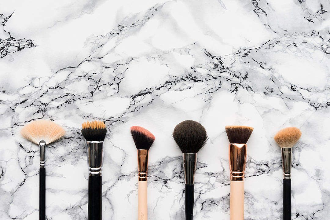 Download Makeup Brushes on White Marble Background FREE
