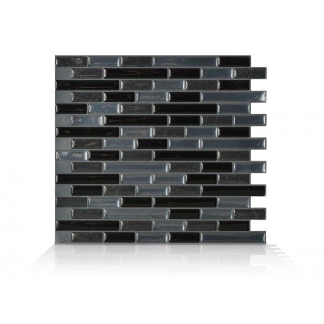 Home Depot Decorative Tile Muretto Nero  Black Charcoal Marble Medium Grey Metallic