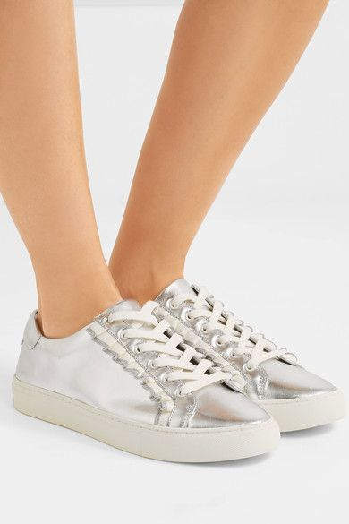 2a021af65a2c10 Tory Burch - Ruffled Metallic Leather Sneakers - Silver