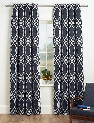 Navy White Geometric Jacquard Eyelet Curtains From M S With