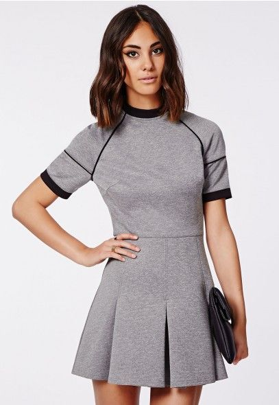Zee Contrast Piping Skater Dress Grey - Dresses - Skater Dresses - Missguided | Ireland