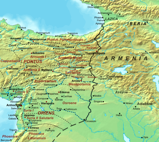 Map of the RomanPersian frontier after the division of Armenia in