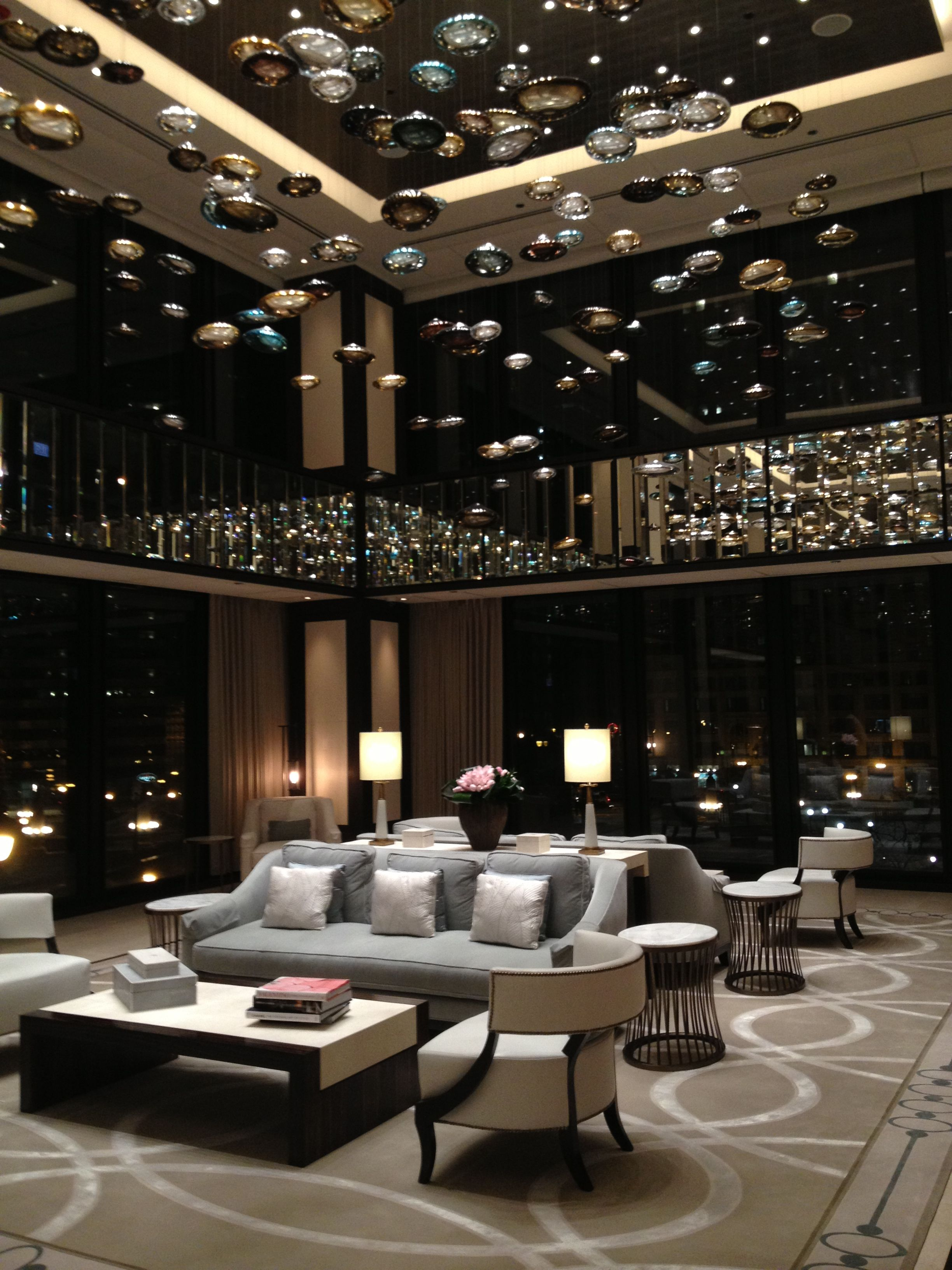 Modern Hotel Lobby Design: Lobby At The Langham, Chicago.