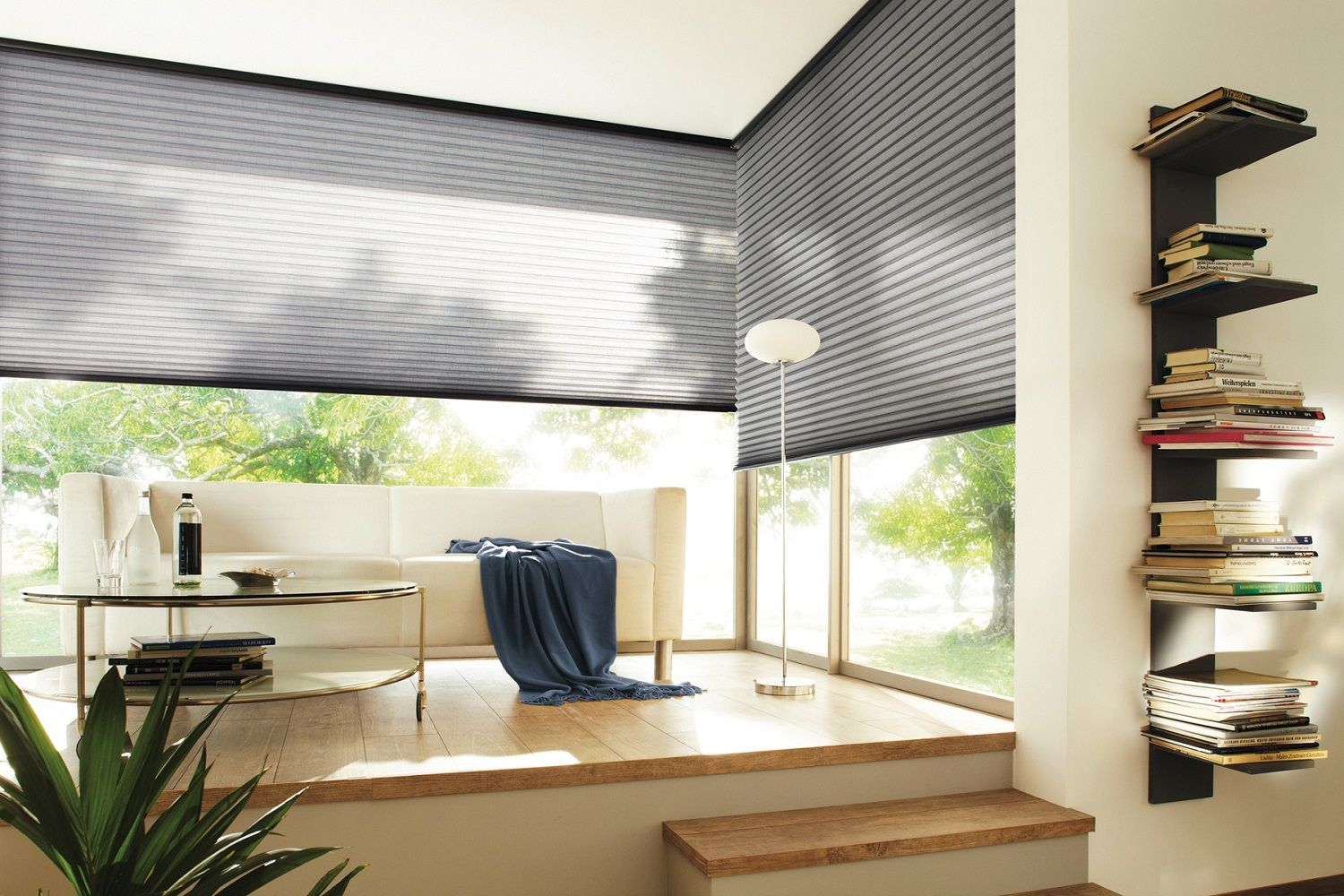 Grey Duette living room blinds. Contemporary soft grey colour ...