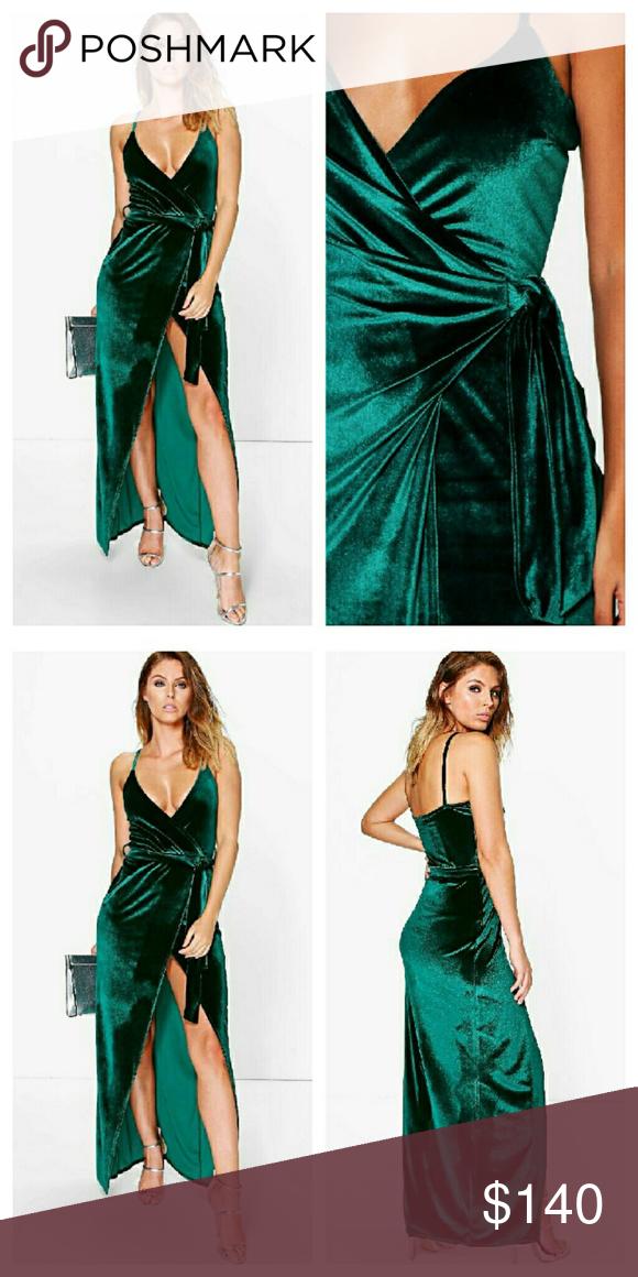 Asos Green Velvet Wrap Style Maxi Dress LOWEST NWTs. UK size