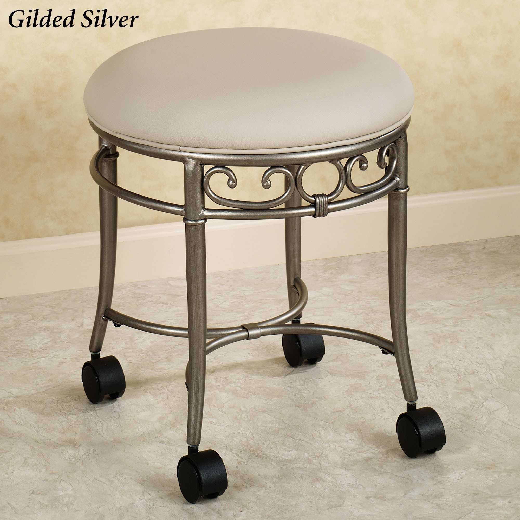 Rolling Vanity Stool Furniture Bathroom