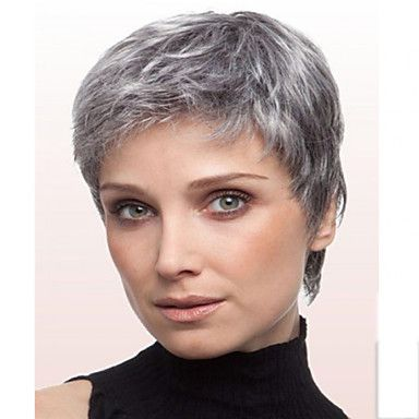 Synthetic Wig Straight Straight Wig Short Grey Syn