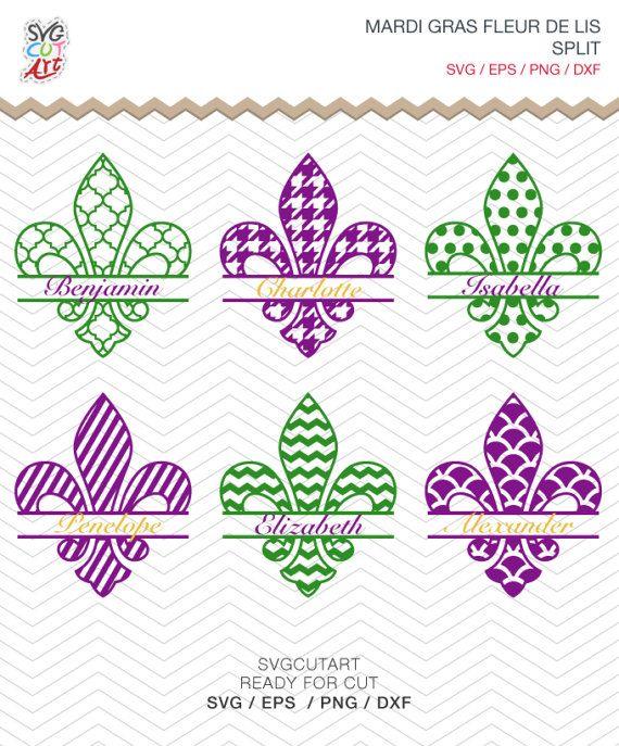 Fleur De Lis Split Monogram Mardi Gras Svg Dxf Png Eps Cut Files For Cricut Design Silhouette Studio Sure Cut Lot Makes Cut Vozeli Com