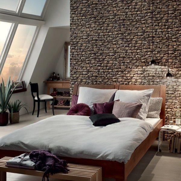 Steintapete grau schlafzimmer  WallPaper #Interior #Home #design   Design   Pinterest