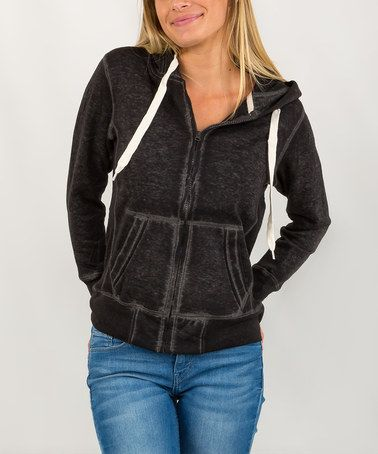 Another great find on #zulily! Charcoal Distressed Zip-Up Hoodie #zulilyfinds