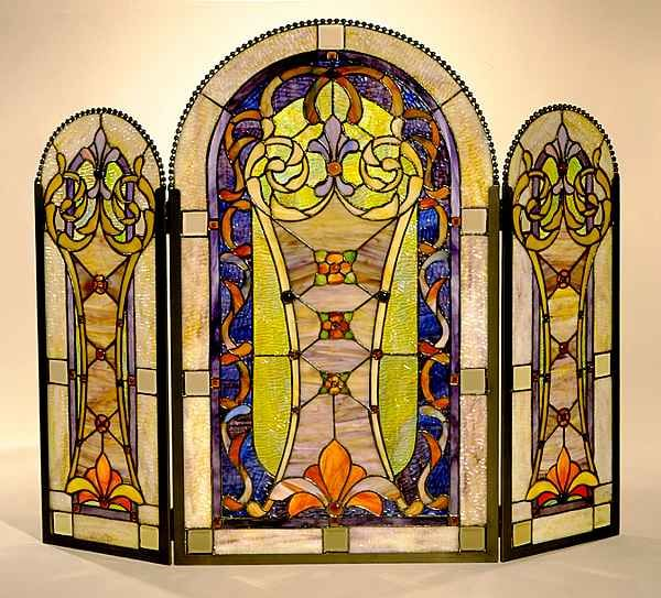 birds stained glass fireplace screen | Screen divider ...