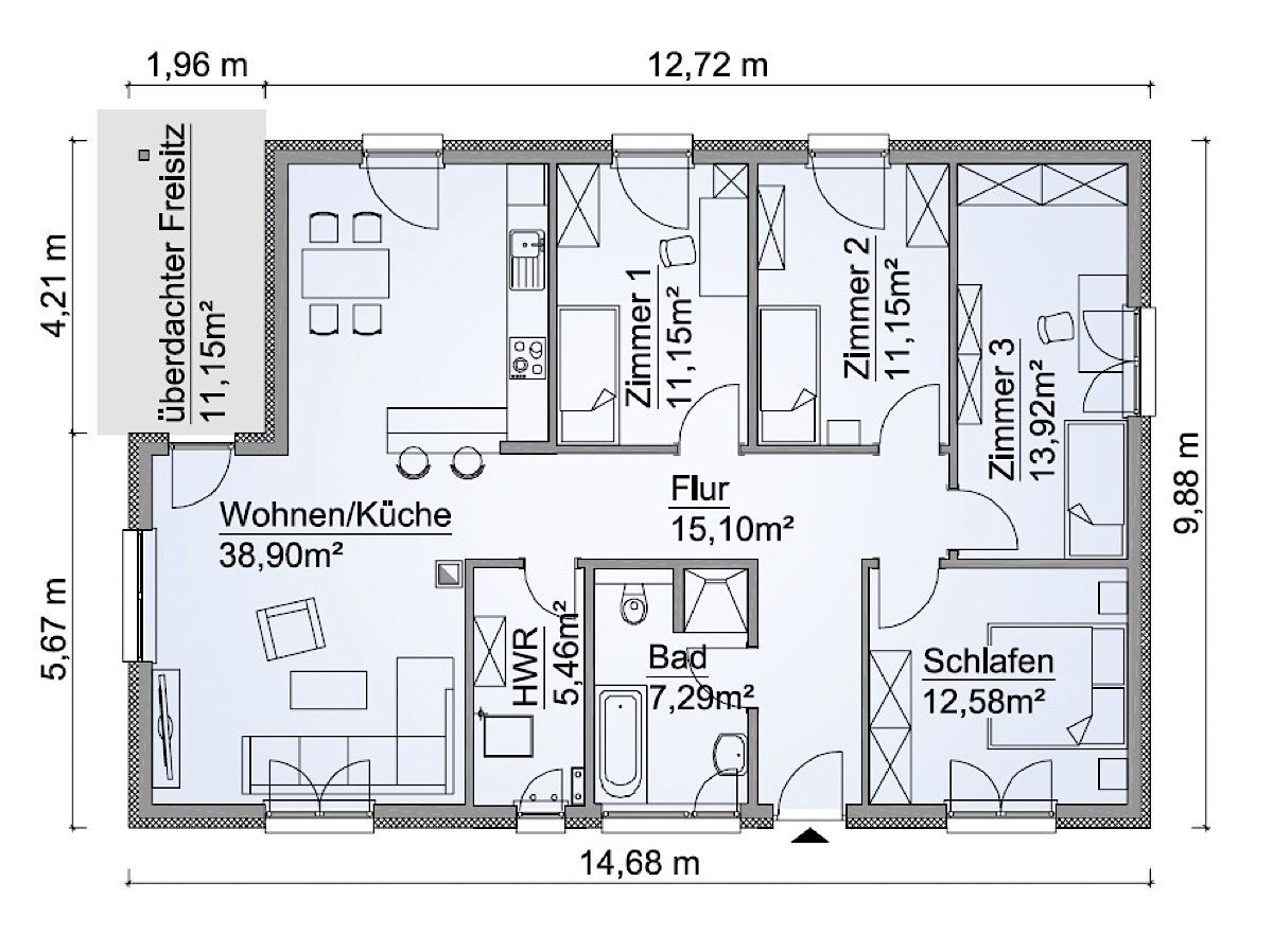 Fertighaus Bungalow Grundriss 5 Zimmer, 120 qm, ebenerdig