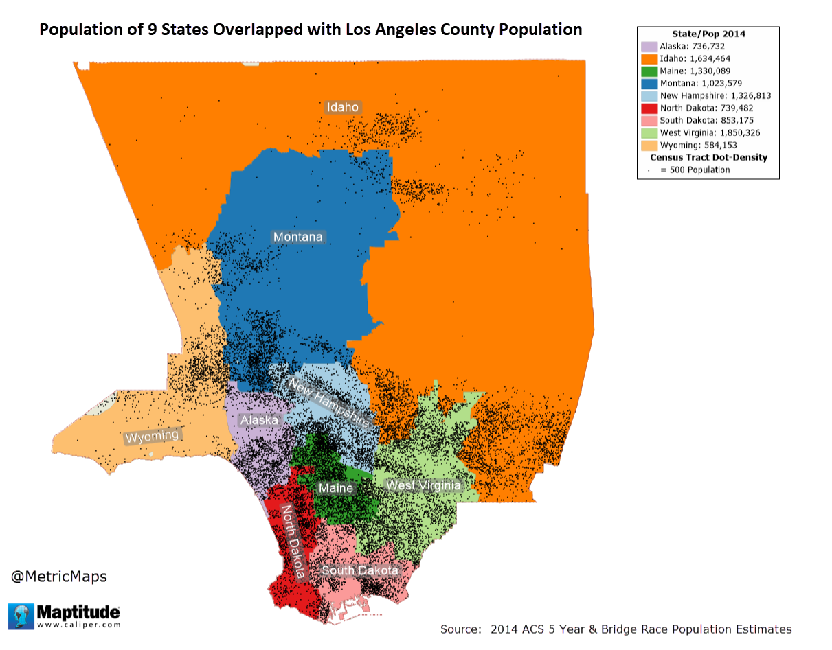 Population of 9 States Overlapped with Los Angeles County