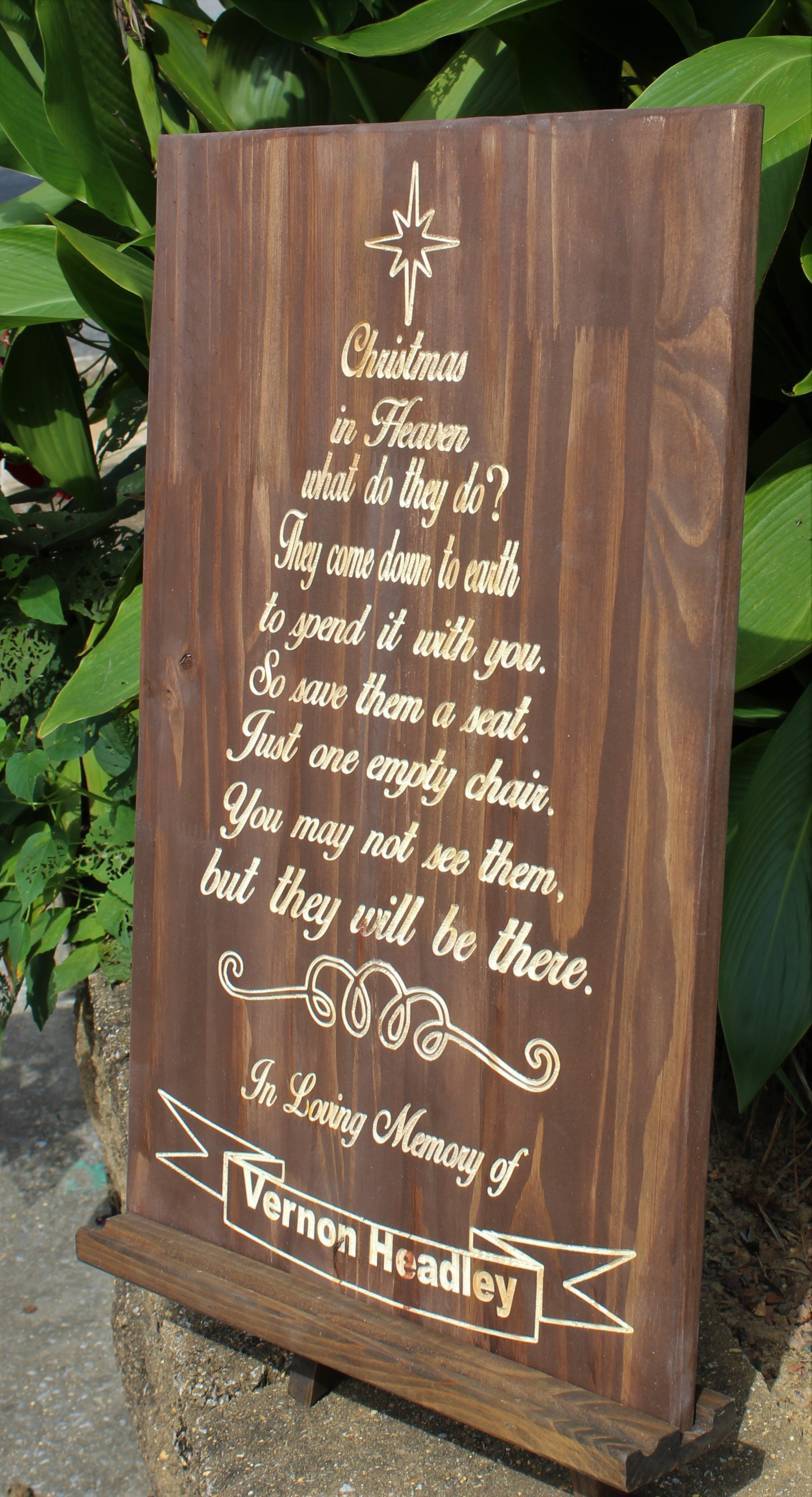Christmas in heaven wooden sign personalized engraved