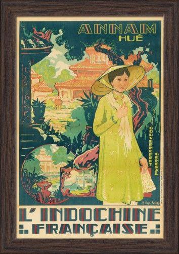 Vietnam Annam Hue L/'Indochine Vintage Asian Travel Advertisement Art Poster