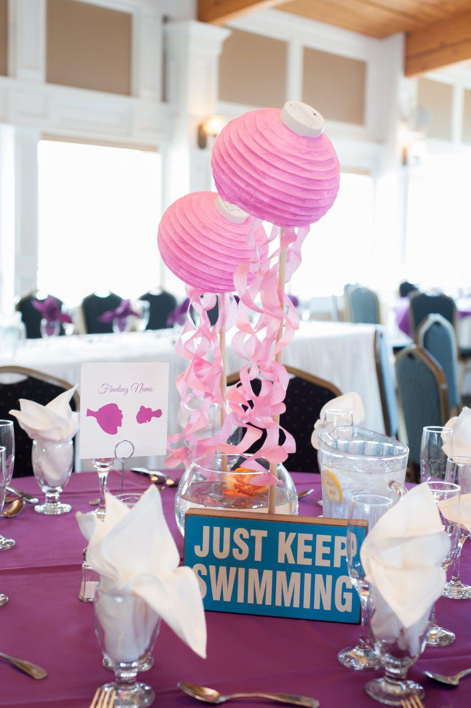 Wedding decoration ideas balloons  Disney Finding Nemo centerpiece Gregwoodphotography  Kenzieus