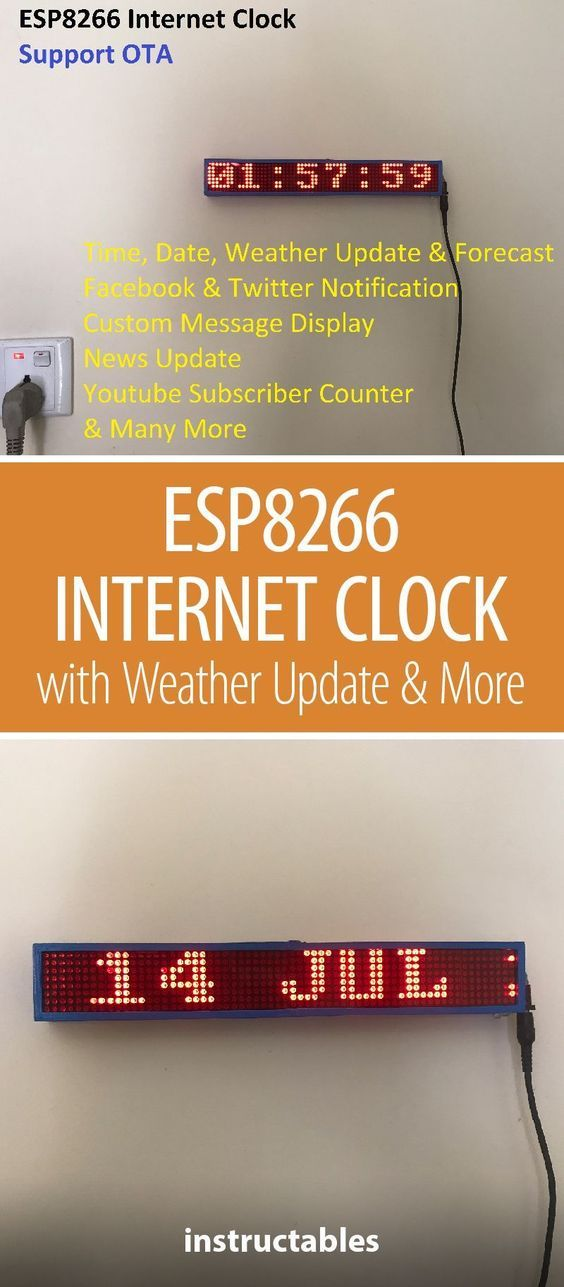 ESP8266 Internet Clock With Weather Update & Many More (No RTC) #coolelectronics