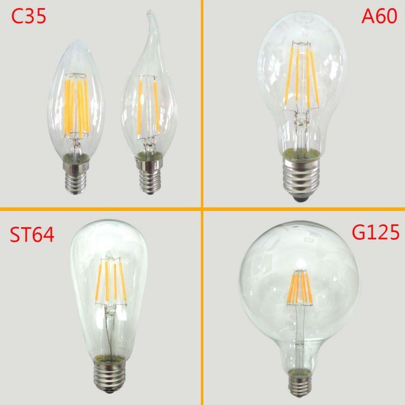 Glass Led Filament Bulb Home Lighting Ampoule Led E14 Candle Energy Saving Lamp Light Bombilla Led E27 Cob 220v 2w 4w 6w 8w Attention Lampochka Osveshenie