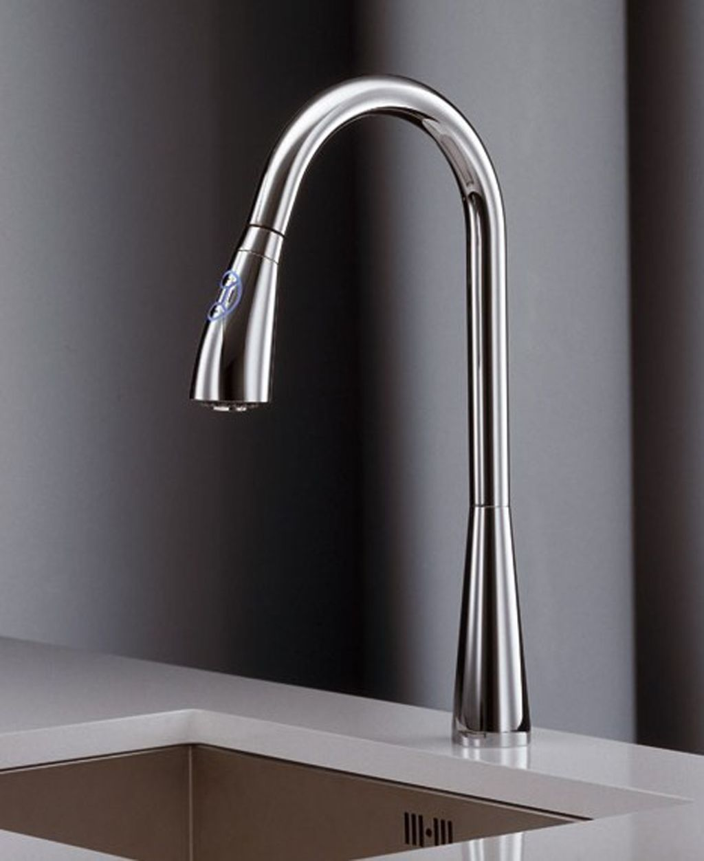 Simple Ultra Modern Stainless Steel Kitchen Faucet On White Ceramic  Countertop Plus Black Background Idea