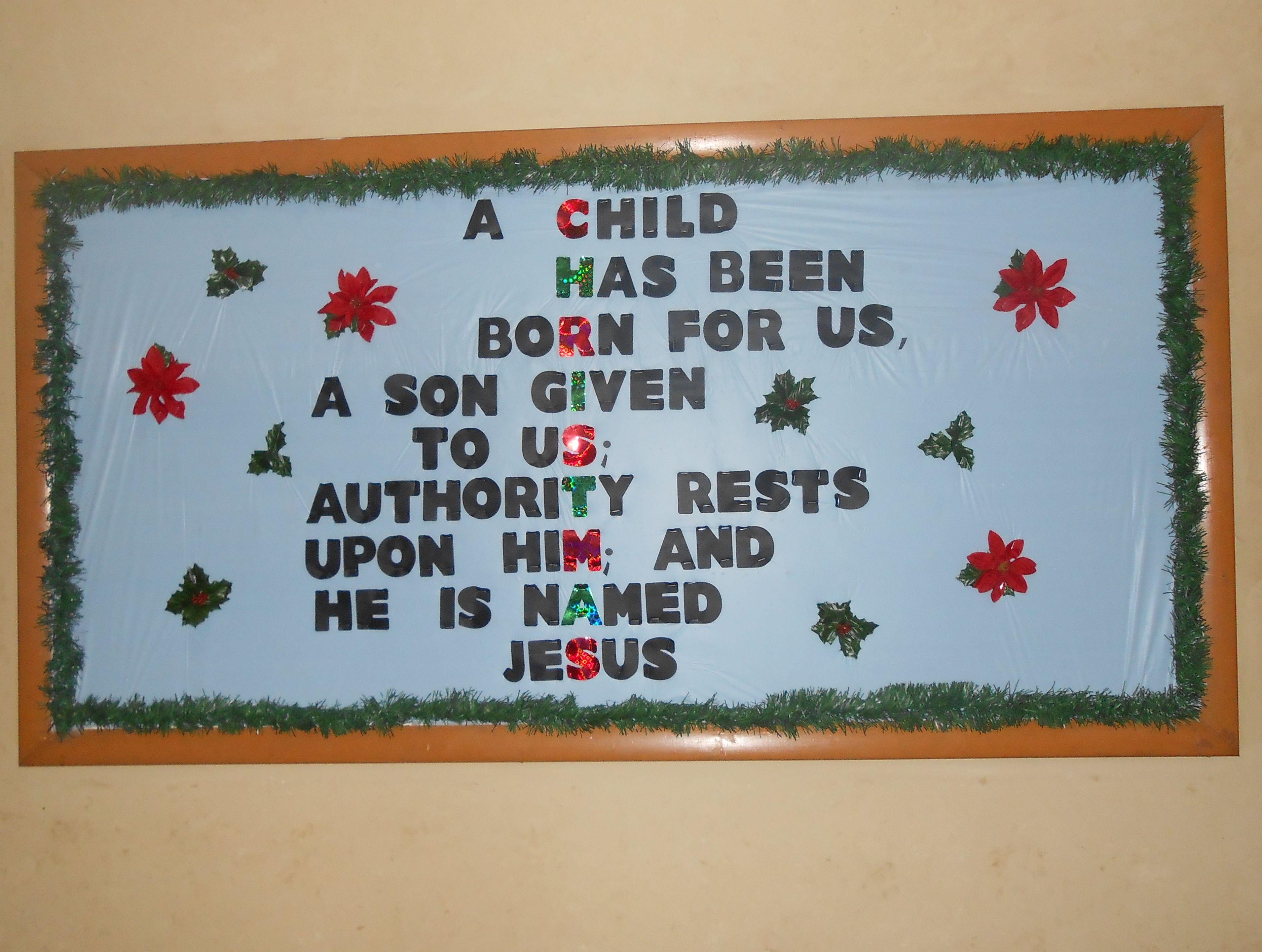 December Church Bulletin Board Christian Preschoolchristian Craftschurch