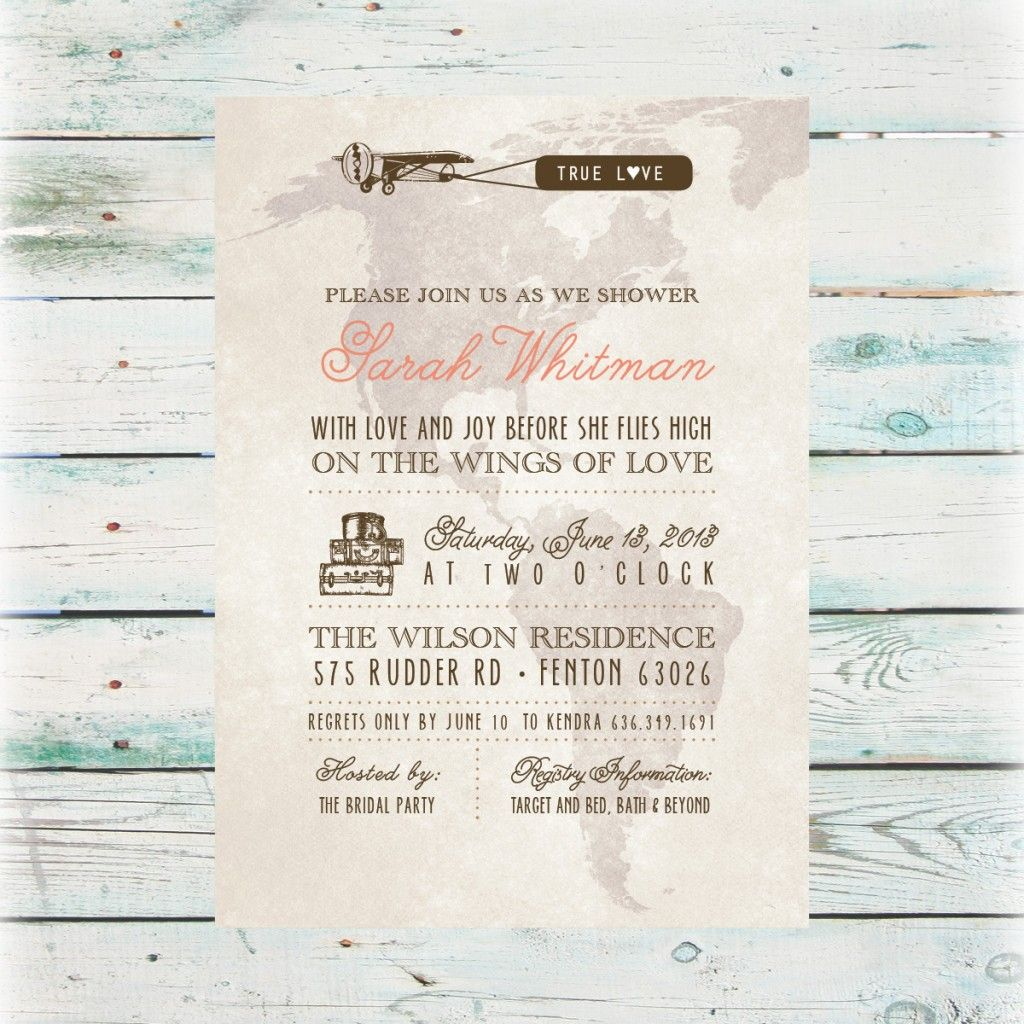 Diy Bridal Shower Invitations Printable Travel Invitation
