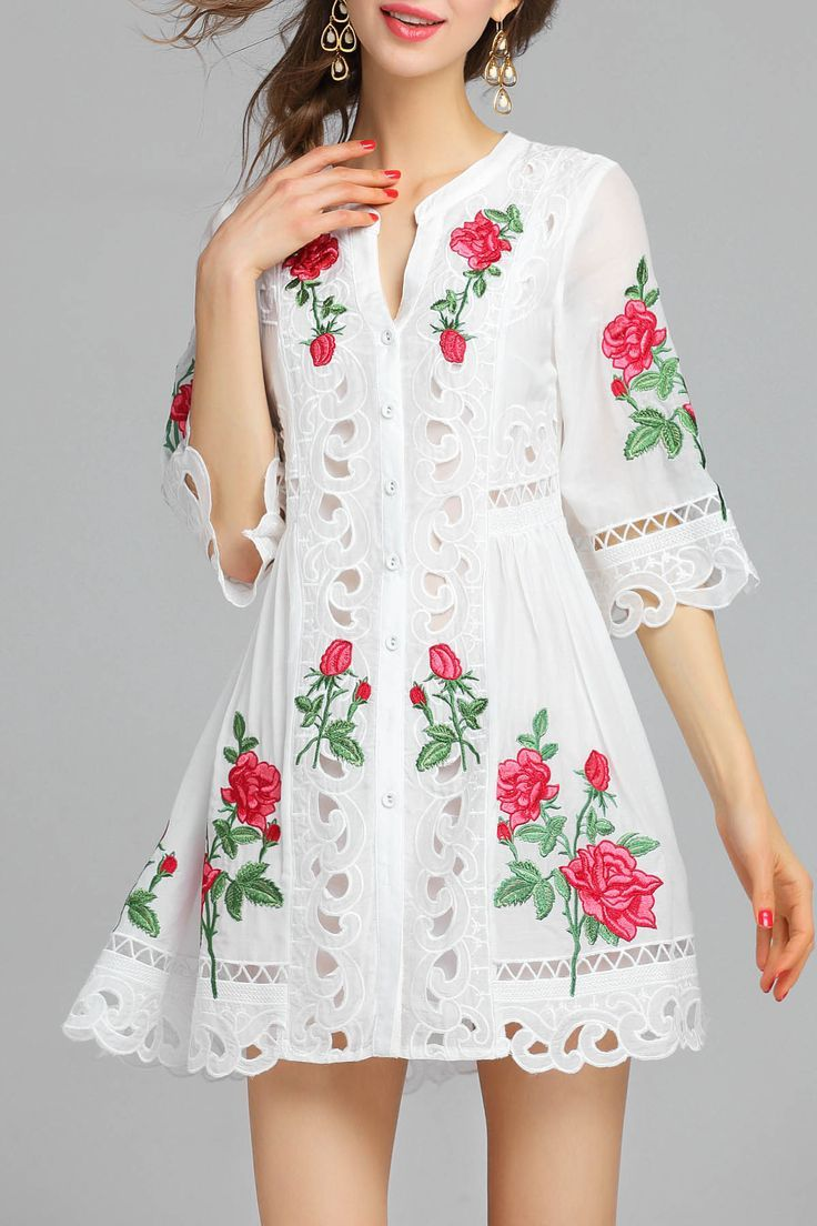Lace dress rose  Embroidered Openwork Dress  Rose embroidery Embroidery dress and Rose