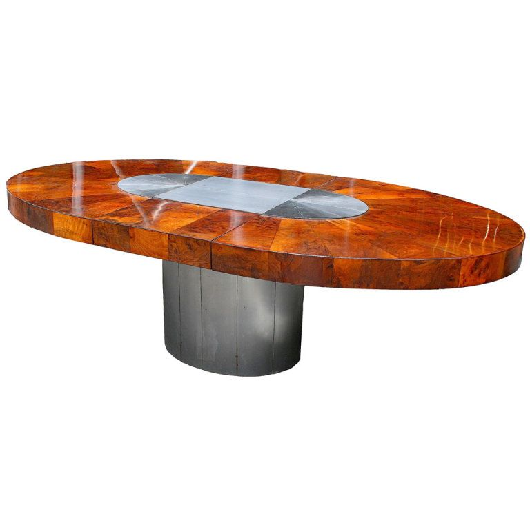Walnut Burl And Gunmetal Oval Dining Table By Paul Evans For