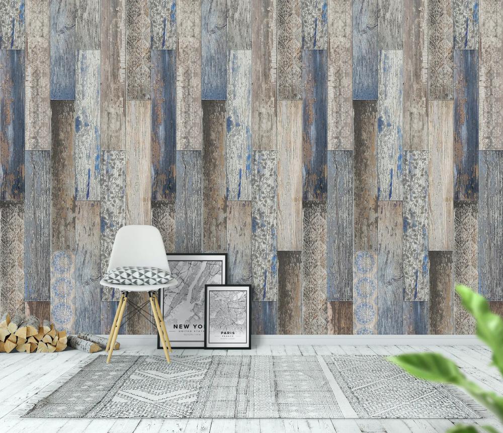 Vintage Wood Tiles Capri Blue Wallpaper Wood Tile Blue Wallpapers Vintage Wood