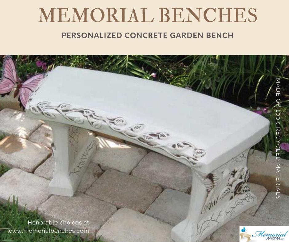 Superb Personalized Concrete Garden Bench Memorialbenches Com Evergreenethics Interior Chair Design Evergreenethicsorg