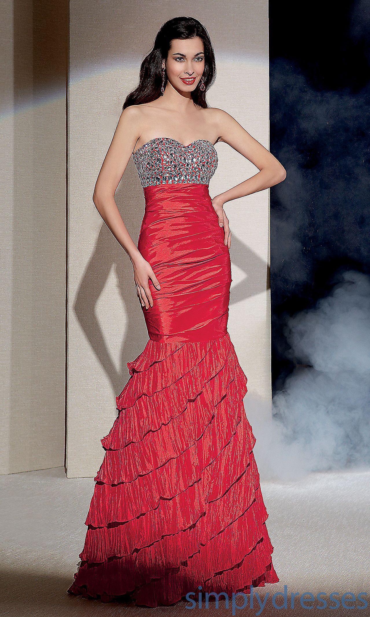 Long strapless layered mermaid dress al fashion pinterest