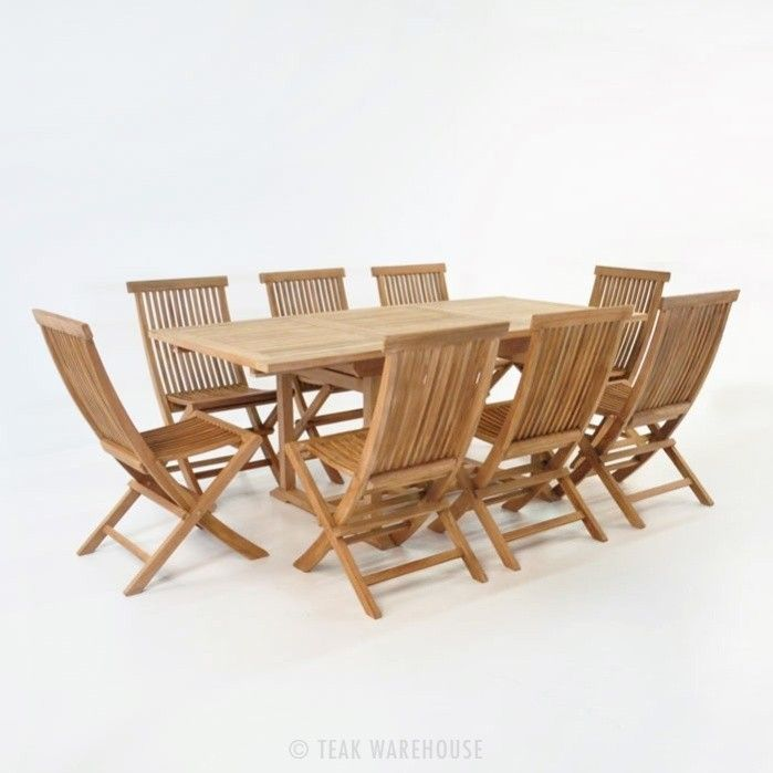 Rectangle Teak Extension Table With Chairs Outdoor Dining Set - Outdoor teak extension dining table