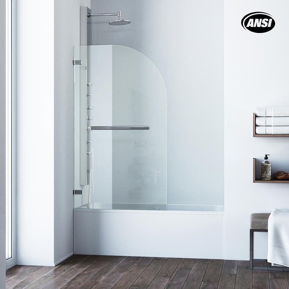 Vigo Orion 34 In X 58 In Pivot Clear Curved Tub Door In Chrome
