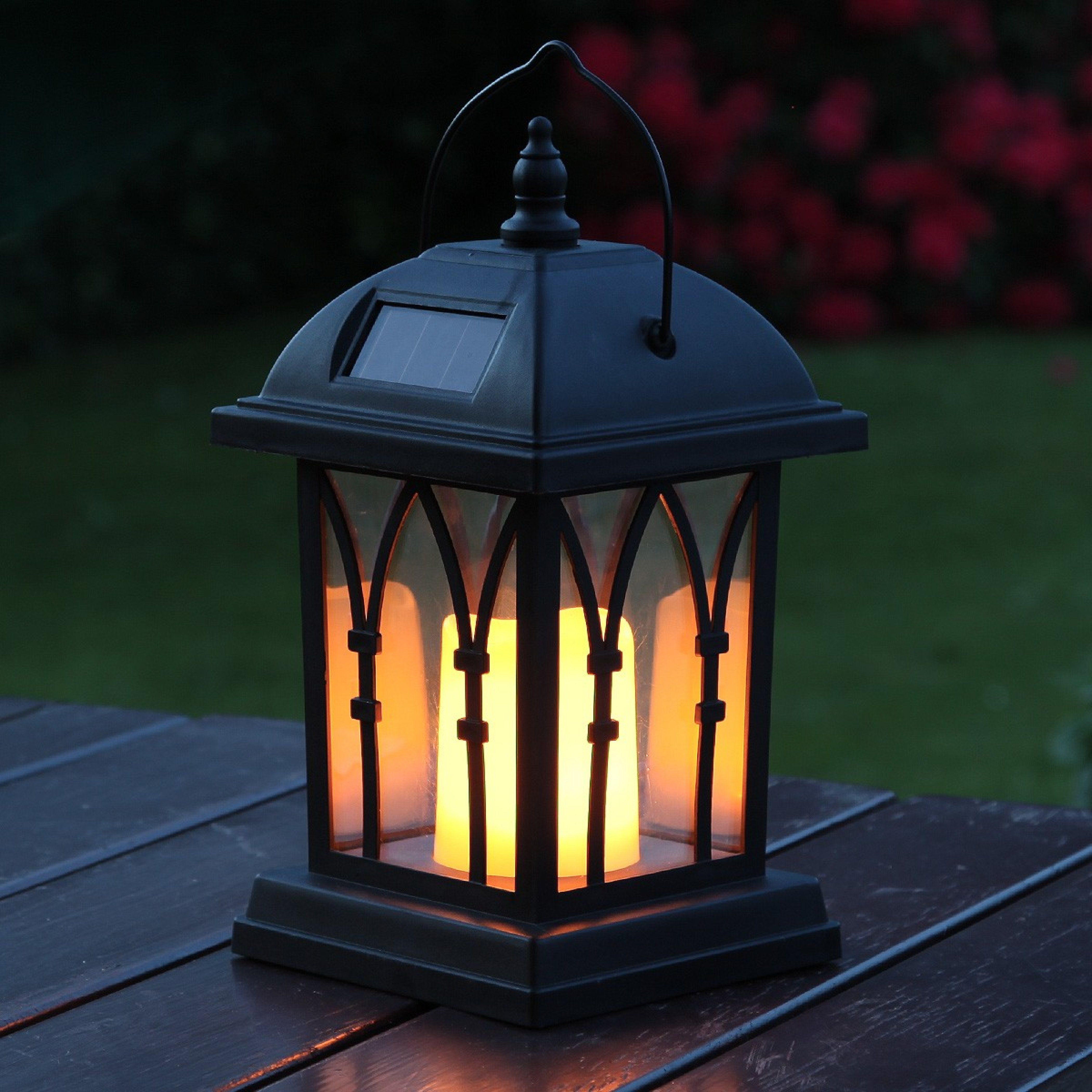 Solar Flickering Candle Lantern Amber Led 27cm
